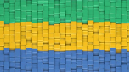bobbing : Gabonese flag made of cubes moving up and down in a random pattern. 3D animated motion background loop.