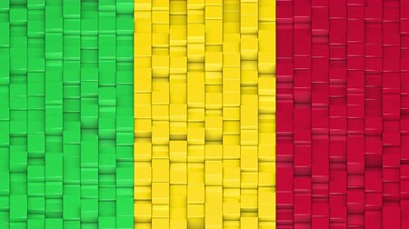 bobbing : Malian flag made of cubes moving up and down in a random pattern. 3D animated motion background loop.