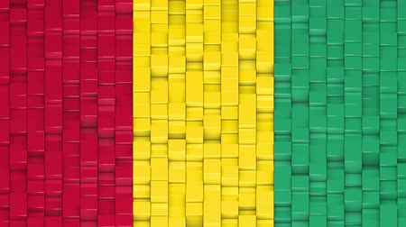bobbing : Guinean flag made of cubes moving up and down in a random pattern. 3D animated motion background loop.