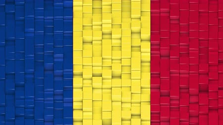 vertical stripes : Romanian flag made of cubes moving up and down in a random pattern. 3D animated motion background loop.
