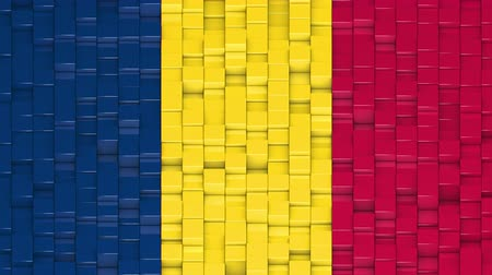 чад : Chadian flag made of cubes moving up and down in a random pattern. 3D animated motion background loop.