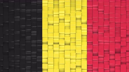 bobbing : Belgian flag made of cubes moving up and down in a random pattern. 3D animated motion background loop. Stock Footage