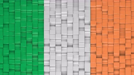 bobbing : Irish flag made of cubes moving up and down in a random pattern. 3D animated motion background loop. Stock Footage