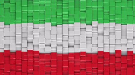 bobbing : Iranian civil flag made of cubes moving up and down in a random pattern. 3D animated motion background loop. Stock Footage