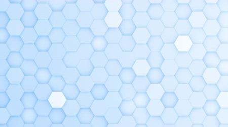 bobbing : Light blue hexagons moving up and down in a random pattern. 3D animated motion background loop. Top down isometric view.