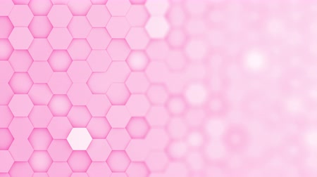 favo de mel : Pink hexagons moving up and down in a random pattern. 3D animated motion background loop. Top down isometric view with gradual blur effect for copyspace.