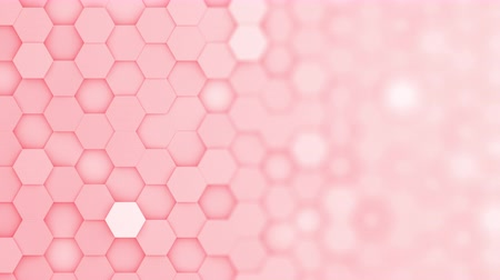 bobbing : Red hexagons moving up and down in a random pattern. 3D animated motion background loop. Top down isometric view with gradual blur effect for copyspace. Stock Footage