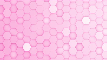acalmar : Pink hexagons moving up and down in a random pattern. 3D animated motion background loop. Top down isometric view.