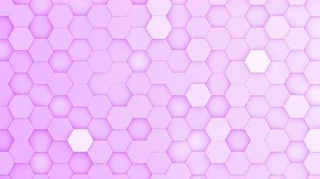 bobbing : Purple hexagons moving up and down in a random pattern. 3D animated motion background loop. Top down isometric view. Stock Footage