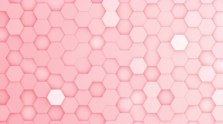 abstract animated : Red hexagons moving up and down in a random pattern. 3D animated motion background loop. Top down isometric view.