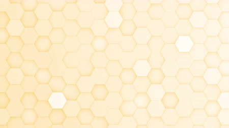 bobbing : Yellow hexagons moving up and down in a random pattern. 3D animated motion background loop. Top down isometric view.