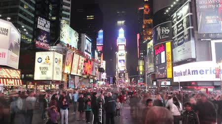 billboards : Times lapse of the crowds in the center of Times Square