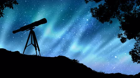 mroczne : Polar lights animation in a star-filled sky with composited telescope and tree blowing in the wind