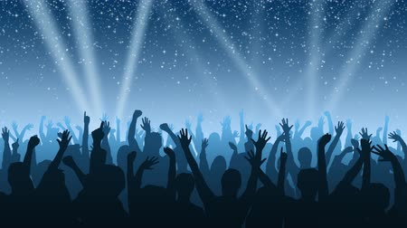 koncert : A cheering crowd under a night sky full of twinkling stars, with spotlights sweeping the background.