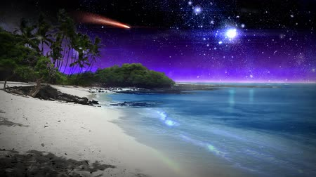 sandy waters : A calm, surreal beach scene with sparkling blue waters, white sand, and a night sky filled with stars and a red comet. Audio of waves crashing included.