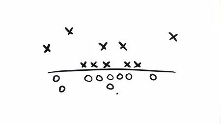diagrama : Football play being drawn over a white background (also avail. over football field graphic)