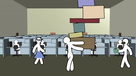 praca zespołowa : A short cartoon with an office employee carrying more boxes than he can handle, as co-workers ignore him. Includes audio of him grunting.