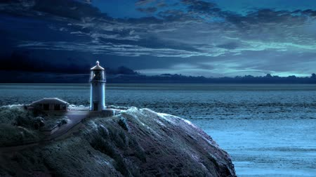 hristiyanlık : Looping animation with a lighthouse beaming light out to sea at night as the clouds float by