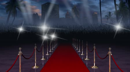 fama : Moving down the glamourous red carpet with a crowd of cheering fans and paparazzi at the end, in front of a city skyline, searchlights, and palm trees blowing in the wind. Audio of cheering and camera flashes included.
