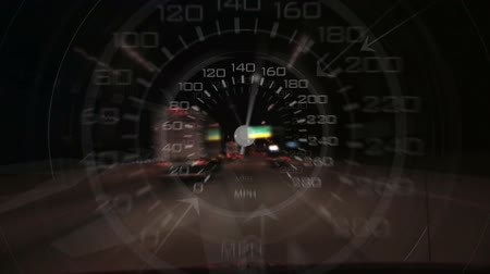 velocímetro : An energetic speedometer design composited over time lapse footage of driving at night.