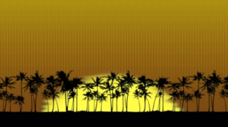 setting : Sun rising over the palm trees. The trees and sun have the distorted wavy effect that heat creates. Just put in reverse to make a sunset.