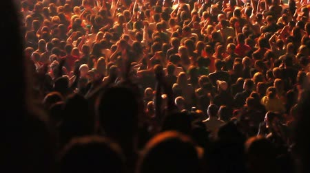 rocks red : Crowd of people raising their hands and applauding at a concert