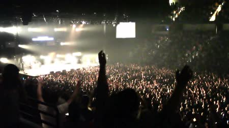 вентилятор : A large crowd of fans raise their arms at concert