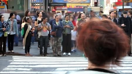 crowded : Time lapse of a crowded city crosswalk in New York City