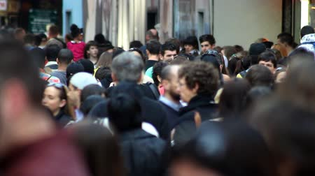 A crowded sidewalk in New York City
