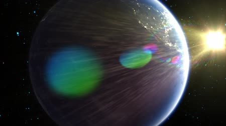gün : Spinning around Earth in space, revealing the sun and a bright, colorful lens flare.  See my portfolio for more quality space animations. Texture maps and space images courtesy of NASA