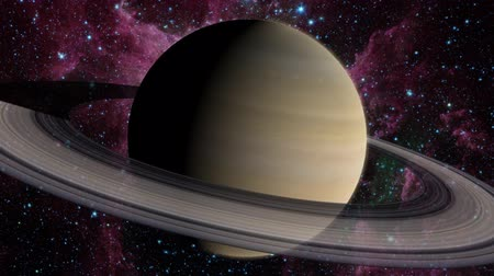 halkalar : A silhouette of planet Saturn and its rings, with the sun behind it, then orbiting around to reveal the bright side of Saturn. Includes a glowing atmosphere, lens flare on the sun, and star background. See my portfolio for more quality space animations. T