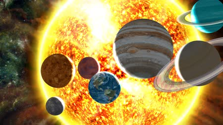 солнечный : A surreal, orbiting shot of all the planets of the solar system scattered in front of the burning sun. Includes lens flare, nebular and star background, and radiating solar flares. See my portfolio for more quality space animations. Texture maps and space