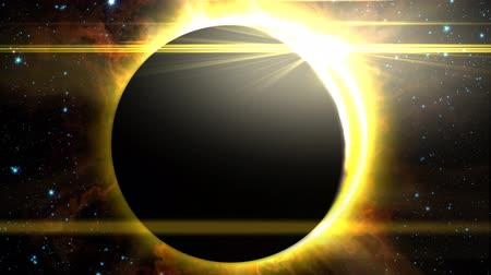 solar : Silhouette of a planet or the moon as it slowly passes in front of the sun, creating a solar eclipse. Includes a lens flare, star background, and radiating solar flares.  See my portfolio for more quality space animations. Texture maps and space images co