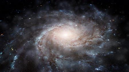 dönen : Rising from eye level to a high angle view of a spinning spiral galaxy with thousands of stars. See my portfolio for more quality space animations. Texture maps and space images courtesy of NASA
