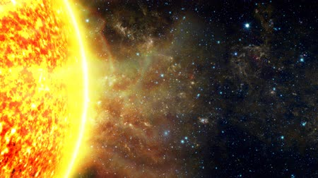 kapatmak : A close up of the Sun's edge, shooting out solar flares, on the far left side, with copy space and a star background. See my portfolio for more quality space animations. Space image courtesy of NASA