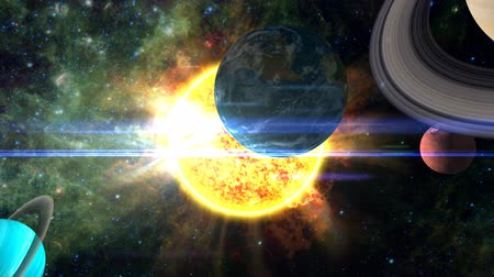 солнечный : A surreal, moving shot around and through all the planets of the solar system, scattered around the burning sun. Includes lens flare, nebular and star background, and radiating solar flares. See my portfolio for more quality space animations. Texture maps Стоковые видеозаписи