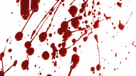 краситель : Part of a series. Blood splatters across a white surface then drips down Стоковые видеозаписи