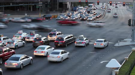 Cars at a busy intersection in Las Vegas - Time lapse shot at dusk
