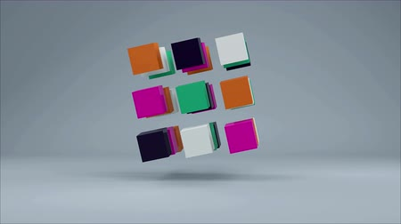 infografik : 3D Cube. Colorful cubes on grey background. Seamless loop