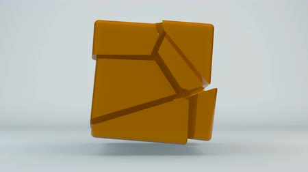 cubos : Displacement orange cube. Abstract seamless loop background. 3d rendering