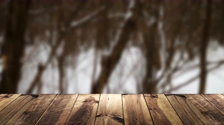 raflar : Perspective wood and blur background. Stok Video