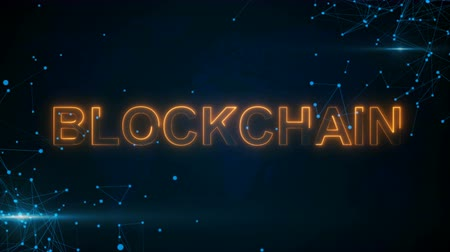 block chain : Abstract glowing digital text Blockchain with connecting dots and flares. 3D rendering Stock Footage