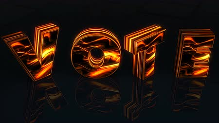 jelenleg : Word Vote written in 3D letters on black background woth reflection, 3D rendering concept