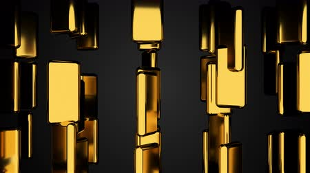 perspective : Many golden bars on black, outlook, computer generated abstract background, 3D rendering Stock Footage