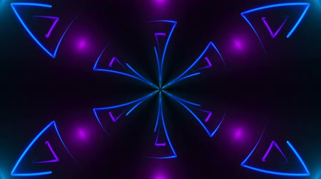 шесть : Beautiful abstract symmetry kaleidoscope with shiny neon lines, 3d rendering backdrop, computer generating background Стоковые видеозаписи