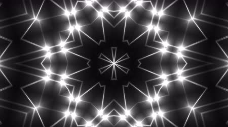 tek renkli : Abstract symmetry kaleidoscope - fractal lights, 3d rendering backdrop, computer generating background Stok Video