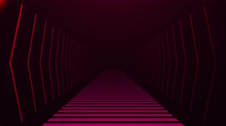 decoratie rand : Tunnel met neonlicht in de ruimte, abstracte computer gegenereerde achtergrond, 3D-rendering backdround Stockvideo