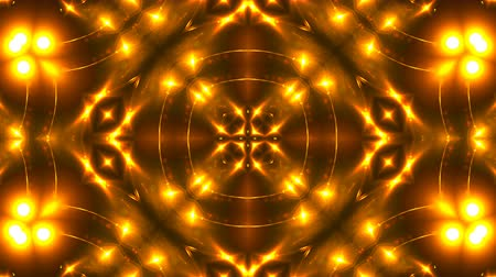 шесть : Beautiful abstract kaleidoscope - fractal golden light, 3d rendering backdrop, computer generating background Стоковые видеозаписи