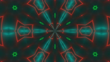 irradiar : Beautiful abstract symmetry kaleidoscope with shiny neon lines, 3d rendering backdrop, computer generating background Stock Footage