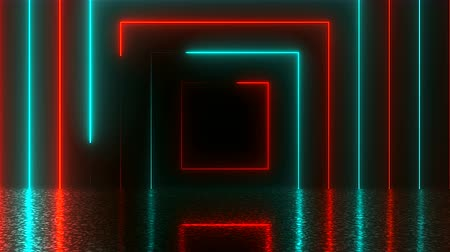 quadrate : Abstract square neon tunnel with reflection, computer generated background, 3D render background Stock Footage